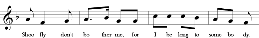 "2/4 Time signature. F Major. Second 4 measures of ""Shoo Fly."""