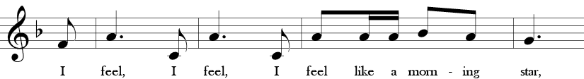 "2/4 Time signature. F Major. Third 4 measures of ""Shoo Fly."""