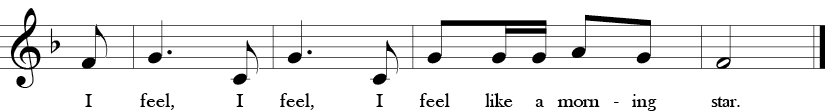 "2/4 Time signature. F Major. Last 4 measures of ""Shoo Fly."""