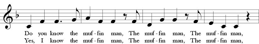 "6/8 Time Signature. F Major. First four measures of ""Do You Know the Muffin Man?"""