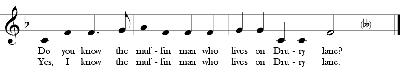 "6/8 Time Signature. F Major. Last four measures of ""Do You Know the Muffin Man?"""