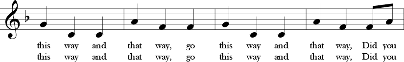 "3/4 Time Signature. F Major. Third four measures of ""Did You Ever See a Lassie?"" Melody focuses on a downward interval."