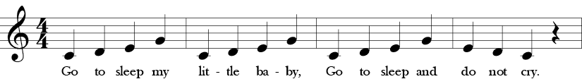 "4/4 Time Signature. C Major. First 4 measures of ""Go to Sleep"" with a repeated C-D-E-G motive resolving in the last measure with E-D-C."