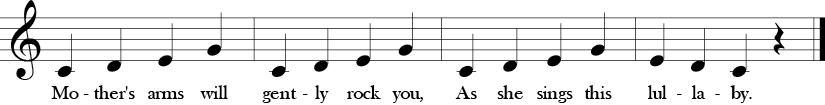 "4/4 Time Signature. C Major. Last 4 measures of ""Go to Sleep"" which is same melody as before with different lyrics."