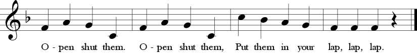 "4/4 Time Signature. F Major. Last 4 measures of ""Open Shut Them."" Melody repeats first 4 measures but different lyrics in last two measures."