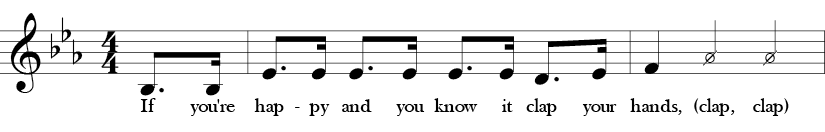 """Key of Eb. Time Signature 4/4. Pick up to first two measures of """"If You're Happy and You Know It."""""""