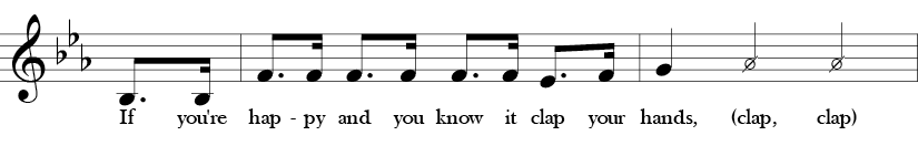 """Key of Eb. Time Signature 4/4. Pick up to second two measures of """"If You're Happy and You Know It."""""""