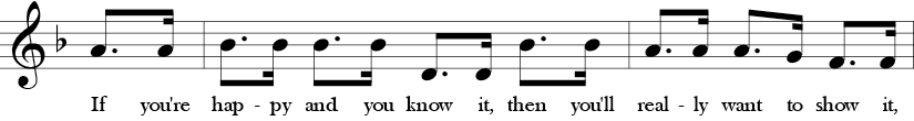 Key of F. Time Signature 4/4. Pick up to third two measures of If You're Happy and You Know It.