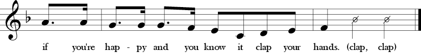 Key of F. Time Signature 4/4. Pick up to fourth two measures of If You're Happy and You Know It.