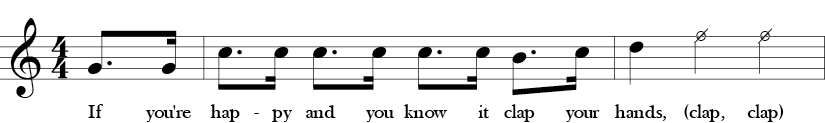 Key of C. Time Signature 4/4. Pick up to first two measures of If You're Happy and You Know It.