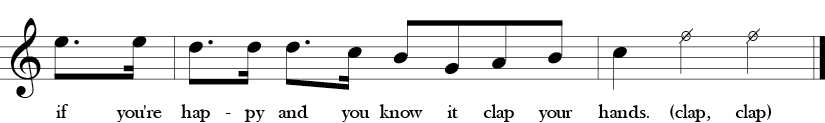 Key of C. Time Signature 4/4. Pick up to fourth two measures of If You're Happy and You Know It.