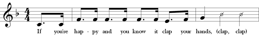 Key of F. Time Signature 4/4. Pick up to first two measures of If You're Happy and You Know It.