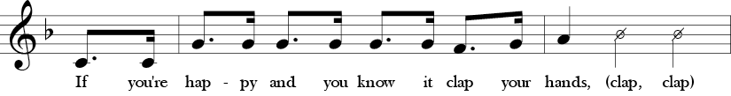 Key of F. Time Signature 4/4. Pick up to second two measures of If You're Happy and You Know It.
