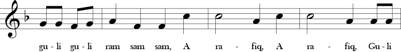 F Major. 4/4 Time Signature. Pick up to secon three measures of A Ram Sam Sam.