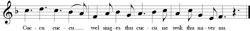 F Major. 12/8 Time Signature. Fifth three measures of treble clef single melody song Sumer Is Icumin In.
