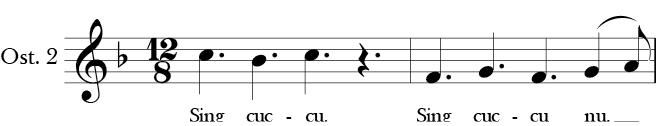 F Major. 12/8 Time Signature. Two measure Ostinato in Sumer Is Icumin In. Labeled Ostinato 2.