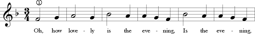 F Major 3/4 Time Signature. First six measure of  Oh, How Lovely.