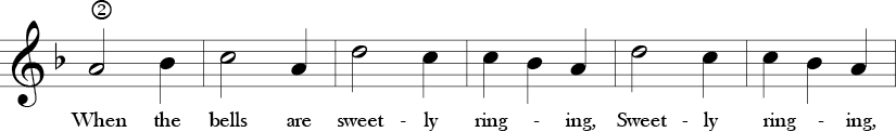 F Major 3/4 Time Signature. Second six measure of  Oh, How Lovely.