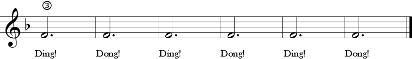 F Major 3/4 Time Signature. Last six measure of  Oh, How Lovely.