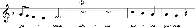 F Major 3/4 Time Signature. Second six measures of Dona Nobis Pacem.