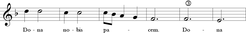 F Major 3/4 Time Signature. Third six measures of Dona Nobis Pacem.
