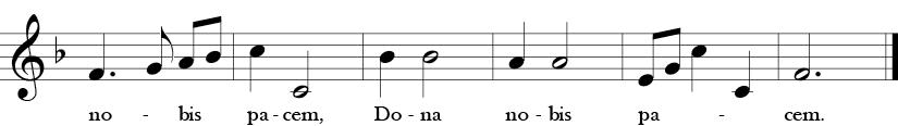 F Major 3/4 Time Signature. Last six measures of Dona Nobis Pacem.