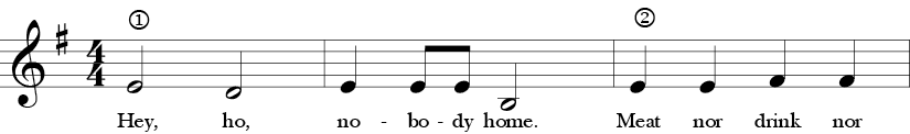 G Measure. 4/4 Time Signature. First three measures of Hey Ho, Nobody Home.