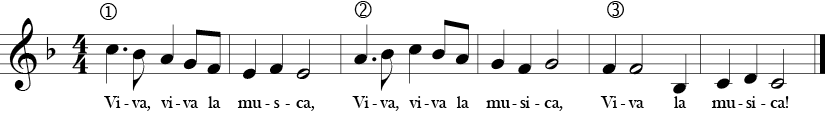 F Measure. 4/4 Time Signature. Six measures of the song Viva la Musica!