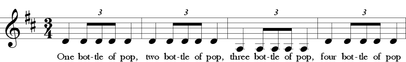 D Major. 3/4 Time Signature. First four measures of song One Bottle of Pop.