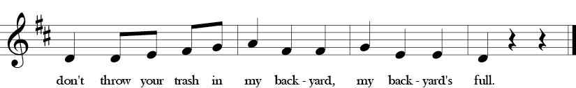 D Major. 3/4 Time Signature. Second four measures of song Don't Throw Your Trash.