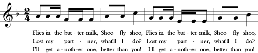 F Major. 2/4 Time Signature. First four measures of Skip to My Lou.