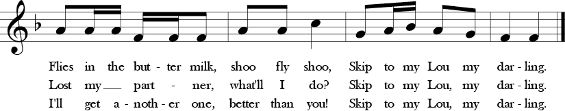 F Major. 2/4 Time Signature. Last four measures of Skip to My Lou.