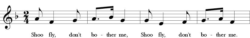 F Major. 2/4 Time Signature. First four measures of Shoo Fly.