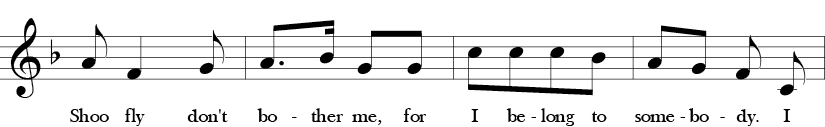 F Major. 2/4 Time Signature. Second four measures of Shoo Fly.