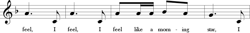 F Major. 2/4 Time Signature. Third four measures of Shoo Fly.