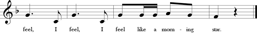 F Major. 2/4 Time Signature. Last four measures of Shoo Fly.