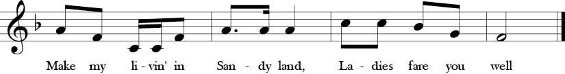 F Major. 2/4 Time Signature. Last four measures of Bow Belinda.