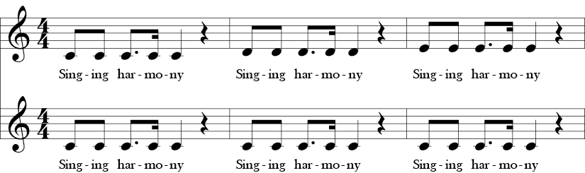 C Major. 4/4 Time Signature. Two part vocal song. First three measures of Warm-up for Harmony