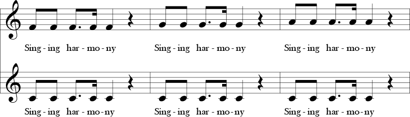 C Major. 4/4 Time Signature. Two part vocal song. Second three measures of Warm-up for Harmony