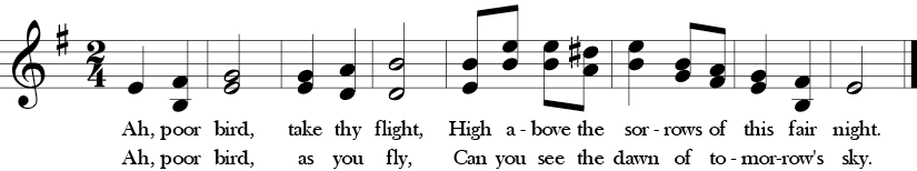 E minor. 2/4 Time signature. One treble clef with two parts. Eight measure song Ah, Poor Bird.