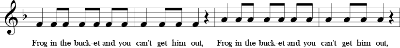 F Major. 4/4 Time signature. Third four measures of Draw Me a Bucket.