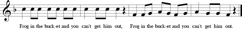 F Major. 4/4 Time signature. Last four measures of Draw Me a Bucket.
