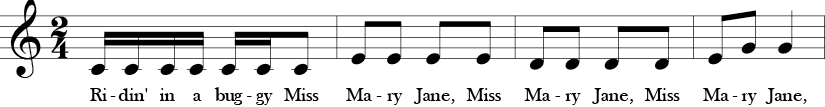 C Major. 2/4 Time Signature. First four measures of Ridin' in a Buggy.
