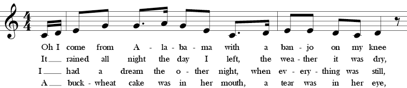 C Major. 4/4 Time signature. Pick up to first two measures of Oh! Susanna.