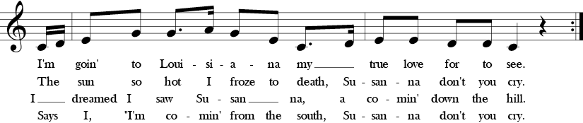 C Major. 4/4 Time signature. Pick up to second two measures of Oh! Susanna.