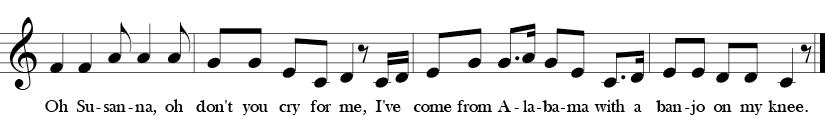 C Major. 4/4 Time signature. Last four measures of Oh! Susanna.
