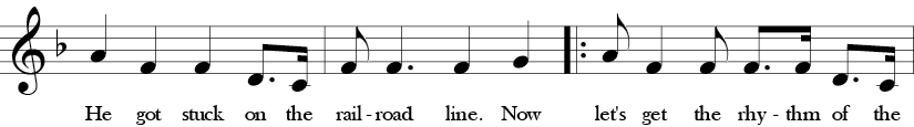F Major. 4/4 Time signature. Second three measures of Doctor Knickerbocker.