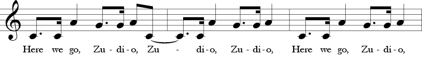 C Major. 4/4 Time signature. First three measures of Here We Go Zudio.