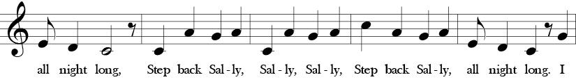 C Major. 4/4 Time signature. Second five measures of Here We Go Zudio.