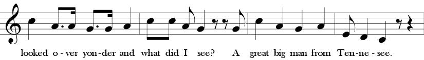 C Major. 4/4 Time signature. Third four measures of Here We Go Zudio.